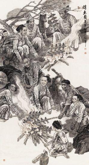 中国画-烤鱼图。邓军作品
