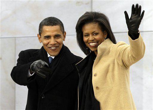 圖為奧巴馬夫婦