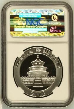 经NGC鉴定和评级的2008年1盎司熊猫银币MS69背面