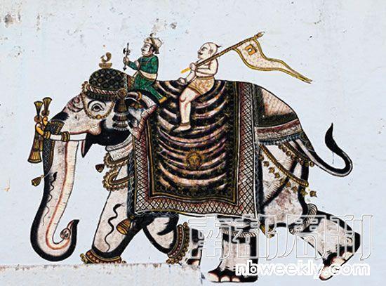 大象的图案,常常出现在这个城市的墙面上。