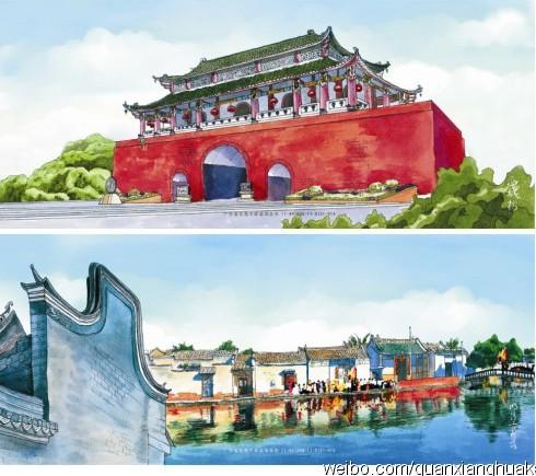 花开广州手绘明信片设计图