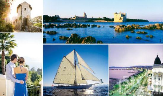 1. 戛纳的旧城区里氤氲着一丝古老的韵味。 2. 站在埃兹小镇的高处眺望,蔚蓝的戛纳海岸波光粼粼,宛如画卷般美丽。 3. 美丽的圣玛格丽特岛位于离戛纳海岸不远的蔚蓝海水中。4. 帆船是戛纳海岸最流行的一项运动。5. 暮色中的戛纳拥有另一种美。
