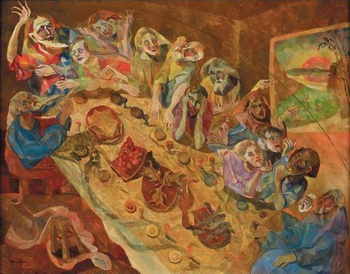 朱沅芷《最后晚餐》油彩绢 73×91cm约1930 年早期作