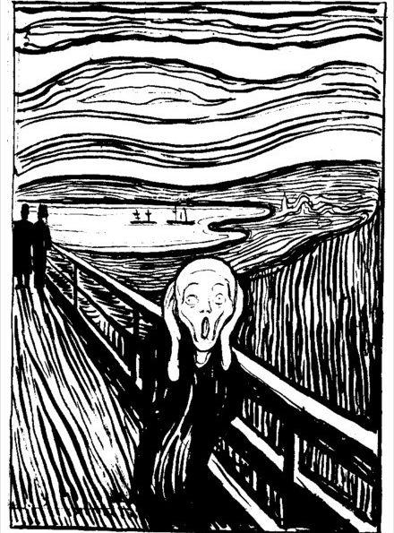 《呐喊》第二版平面印刷版,藏于挪威蒙克博物馆,完成于1895年