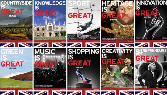 """去年9月开始在14个城市同时上马的""""Great is Britain""""不列颠营销攻坚战海报。"""