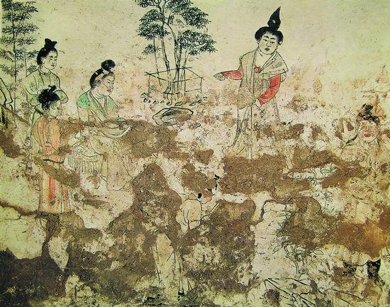 陕西乾县神龙二年(706年)章怀太子墓后室东壁南侧壁画