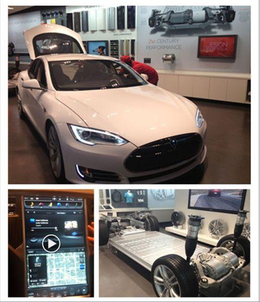 图示:Tesla新款电动车,售价5.7万美元。图片来源:新浪财经北美记者段皎宇