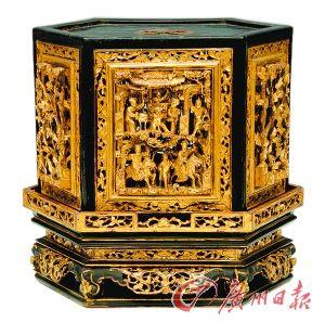 潮州金木雕六角形香炉罩
