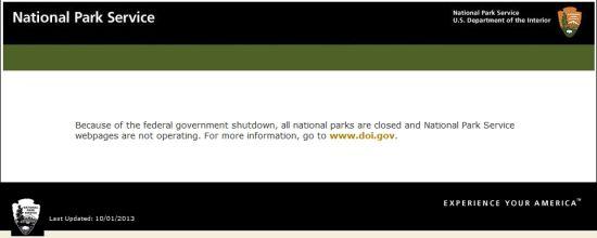 受政府停摆的影响,全美所有国家公园的网站都贴出了关门告示。