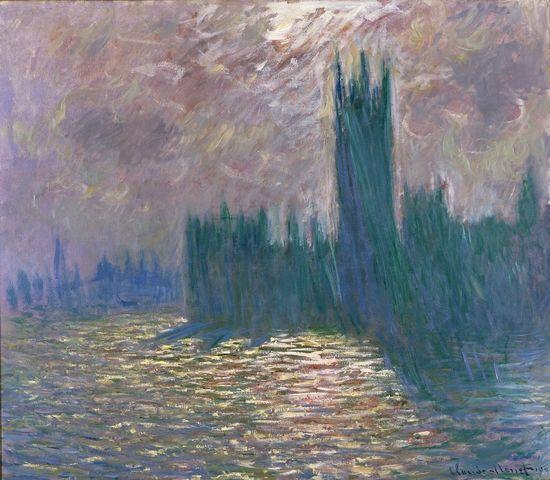 莫奈作品《伦敦国会大厦,泰晤士河上注册天游倒影》