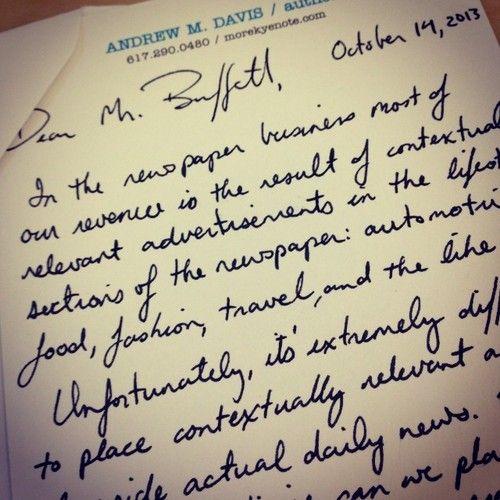 从2012年10月,我开始每周都给沃伦-巴菲特手写一封信。