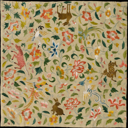 花鸟动物纹刺绣