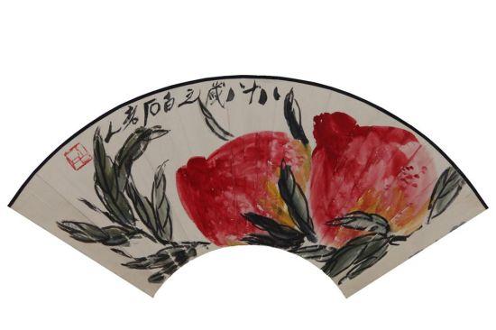 齐白石 《双寿》 18.5×52.5cm 设色纸本 扇面