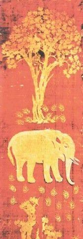 唐,黄地象树蜡染屏风,163.5cm×56.5cm,日本正仓院藏