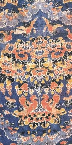 唐,青地夹缬桌垫104cm×53.5cm日本正仓院藏