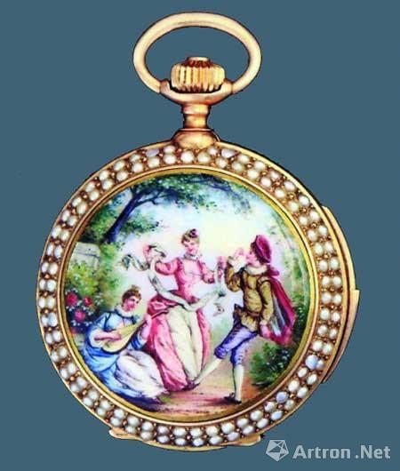 溥仪贴身使用的珐琅珍珠怀表