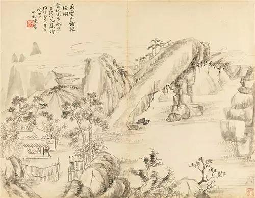 (三十一开之一) Lot1423 陈豪(1839-1910) 云林先生授经图 纸本册页 1869年作