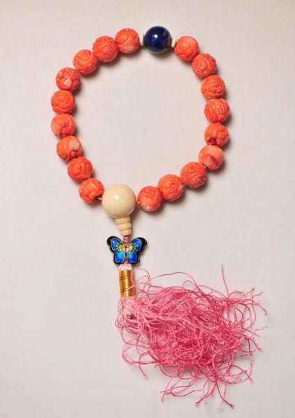 20世纪80年代 白珊瑚雕龙纹寿字18子佛串 配青金石 银烧蓝蝴蝶