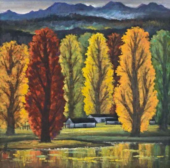 Lot.857 林风眠 秋景 1960年代   纸本 彩墨 68.2×69.1cm。