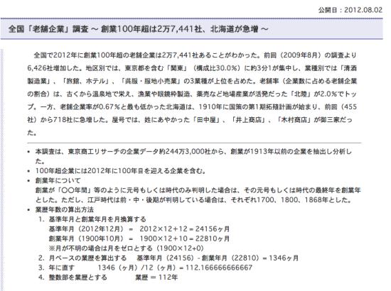 日东京商工调查2012年8月发布的百年企业统计报告