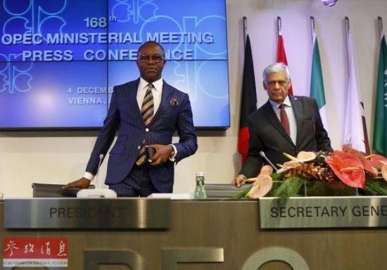 材料图像:欧佩克领袖12月4日在欧佩克集会后列席记者会。