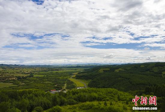 图为在河北省界�磐�塔观看河北造林绿化情况。
