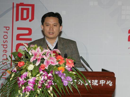 """""""第八届中国文化产业新年论坛""""于2011年1月8日-9日在北京召开。上图为国家音乐创意产业基地(广州)主任、广东飞晟投资有限公司董事长林佑钦。(资料图片)"""