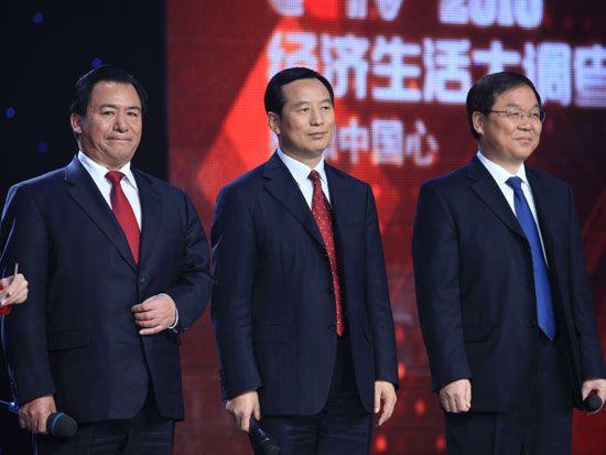 现场采访幸福感最高的三个城市市长(新浪财经 陈鑫 摄)