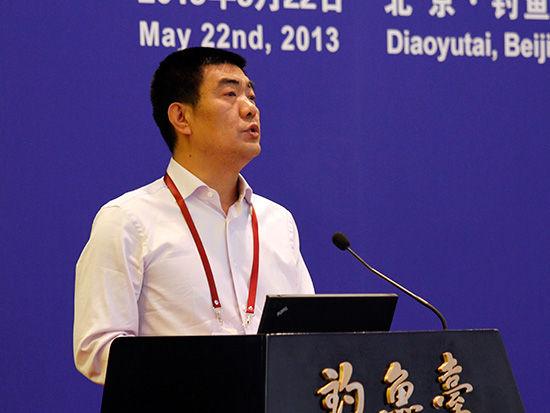 """中国金融论坛于2013年5月21-23日在北京召开。论坛主题为""""金融改革创新,服务实体经济""""。图为西安�哄鄙�态区党工委书记杨六齐演讲。"""