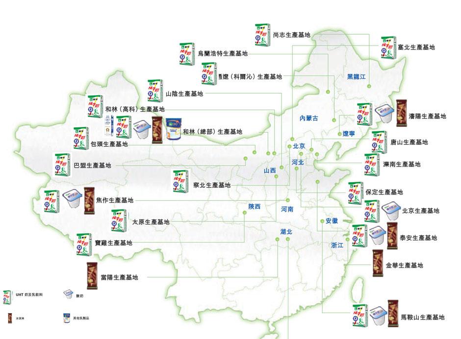 蒙牛主要产品产地
