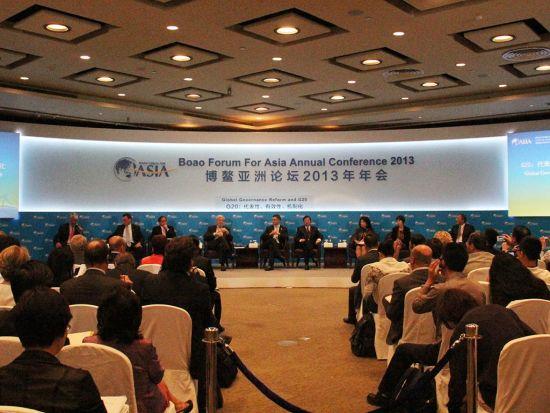 """""""博鳌亚洲论坛2013年年会-G20分论坛""""于4月6日举行。上图为会场全景图。(图片来源:新浪财经 尚祚 摄)"""