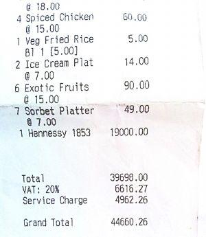 一位网民在社交网站Reddit上贴出的天价工作餐账单。