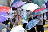 香港市民在风雨中行走
