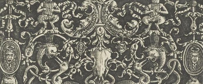 《两组战利品饰与两个美杜莎头像盾牌》