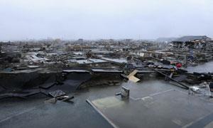 被地震和海啸夷为平地的日本宫城县仙台港