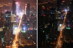 南京城区熄灯前后