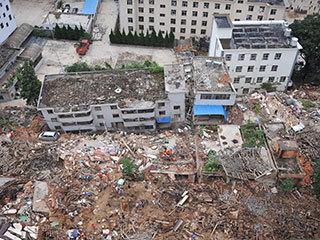 航拍鲁甸地震灾区