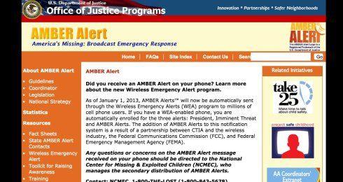 """美国司法部""""安博警报""""的介绍页面"""