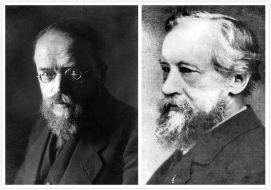 右:荷兰植物学家德弗里斯(Hugo de Vries,1848―1935);左:德国植物学家柯伦斯(Carl Correns,1864―1933)