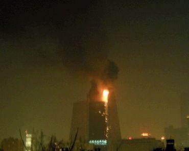 央视新址大楼配楼发生大火可能是烟花引起(图)