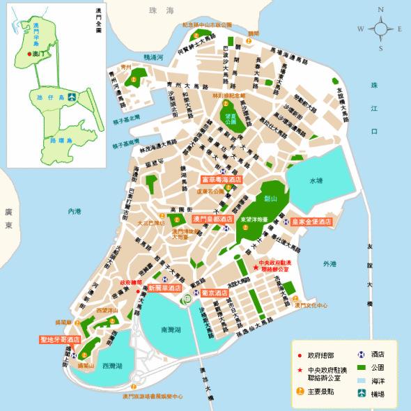 资料图片:澳门旅游地图