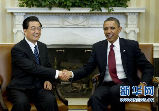 1月19日,中国国家主席胡锦涛在华盛顿同美国总统奥巴马举行会谈,讨论中美关系及共同关心的重大国际和地区问题。新华社记者李学仁摄