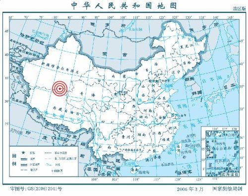 震中位置示意图