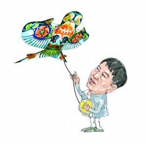 关于风筝的小孩手绘图