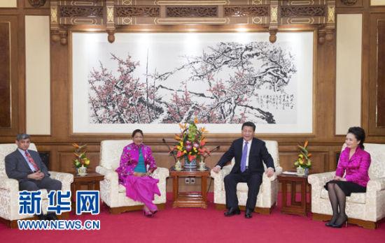 2月26日,国家主席习近平在钓鱼台国宾馆会见特立尼达和多巴哥总理比塞萨尔。习近平主席夫人彭丽媛参加会见。 新华社记者 李学仁 摄