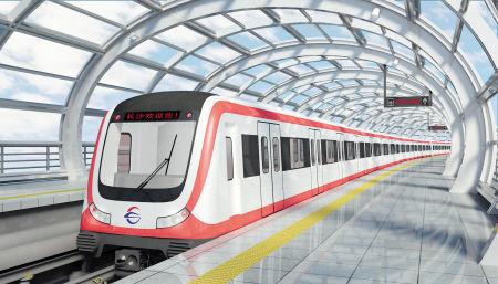 1号线列车5套外观设计方案均以大红色为点缀色带,这是其中的方案五.