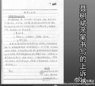 聂树斌手写的申诉状,标注日期为1995年5月13日。