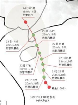 """今年第8号台风""""鲸鱼""""未来60小时路径概率预报图6月21日17时~24日05时(北京时)"""