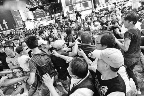 香港旺角28日夜再爆混战。