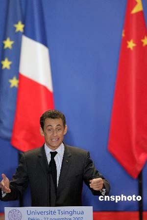 组图:法国总统萨科齐在清华大学演讲